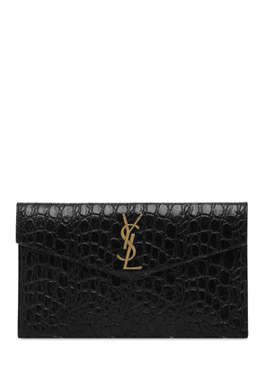 Uptown Croc Embossed Leather Pouch