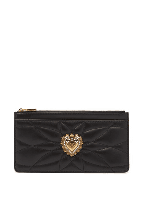 Dolce & Gabbana - Devotion Zipped Quilted-leather Cardholder - Womens - Black