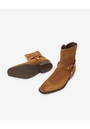The Kooples - Low camel suede boots with western-style buckles and pointed toe - MEN