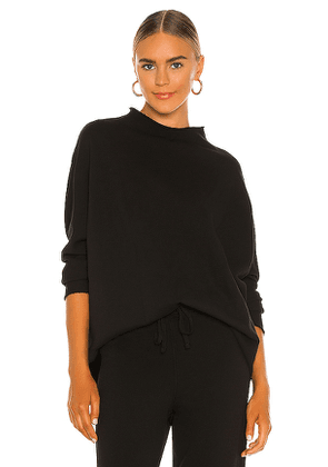 Frank & Eileen Long Sleeve Funnel Neck Capelet Sweatshirt in Black. Size XS.