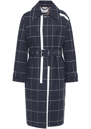 3.1 Phillip Lim Belted Printed Checked Cotton-blend Gabardine Trench Coat Woman Navy Size M/L