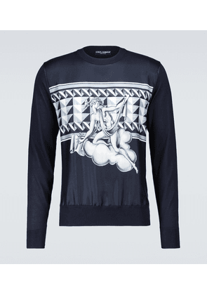 Silk sweater with printed panel