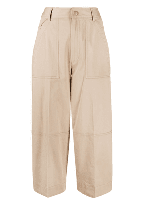 Moncler panelled cropped trousers - Neutrals