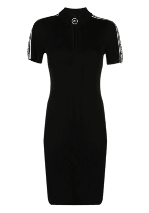 Michael Kors logo tape ribbed dress - Black