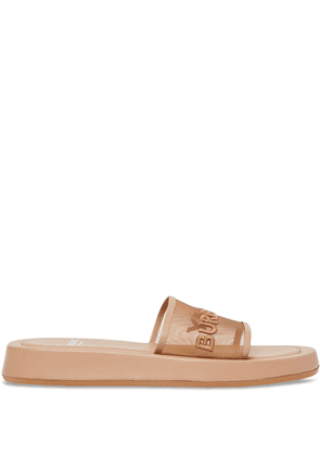 Burberry logo embroidered mesh slides - Brown