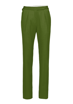 Brandon Maxwell - Women's High-Rise Pleated Wool Satin Pant - Green/dark Green - Moda Operandi