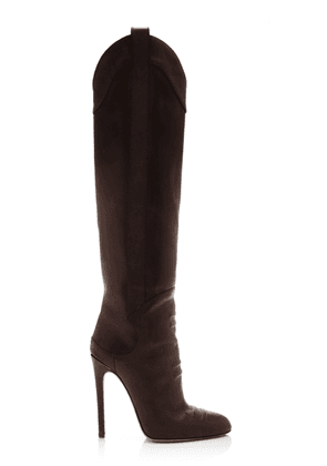 Brandon Maxwell - Women's Leather Knee High Boots - Black/brown - Moda Operandi