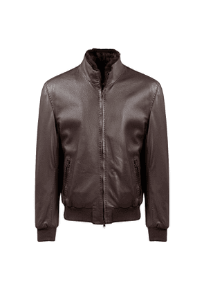 Brown Deer Leather Bomber Jacket with Beaver Lining