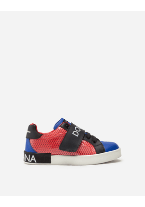 Dolce & Gabbana Shoes (24-38) - Portofino custom sneakers in mixed materials RED/BLUE male 33