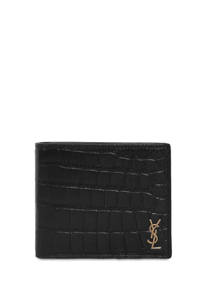 Croc Embossed Leather Billfold Wallet