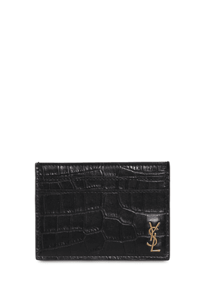 Croc Embossed Leather Credit Card Holder