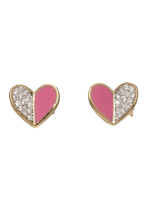 Adina Reyter Gold and Pink Ceramic Pave Folded Heart Earrings
