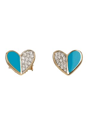 Adina Reyter Gold and Blue Ceramic Pave Folded Heart Earrings
