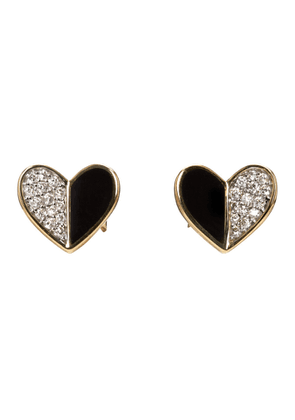 Adina Reyter Gold and Black Ceramic Pave Folded Heart Earrings
