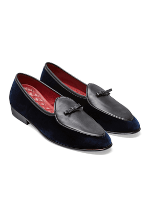 Midnight Velvet and Black Tie Bow Sagan Classic Loafers