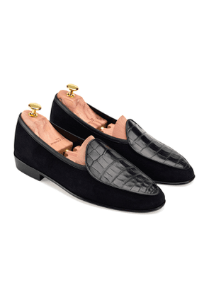 Black Suede and Alligator Precious Leathers Sagan Classic Loafers