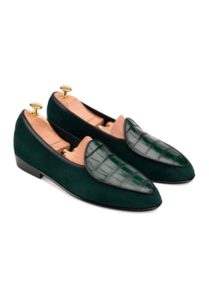 Dartmouth Green Suede and Alligator Precious Leathers Sagan Classic Loafers