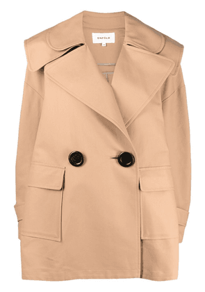 Enföld double-breasted short trench coat - Neutrals