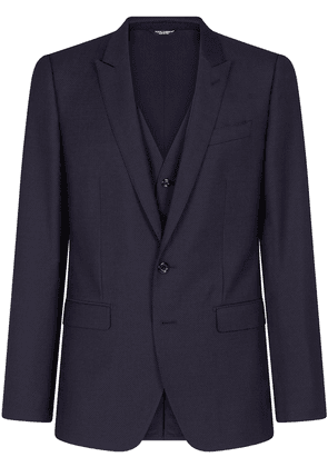 Dolce & Gabbana micro-patterned martini-fit three-piece suit - Blue