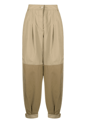 LOEWE two-tone cotton trousers - Neutrals