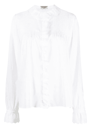 Saint Laurent broderie anglaise ruffle-detail blouse - White