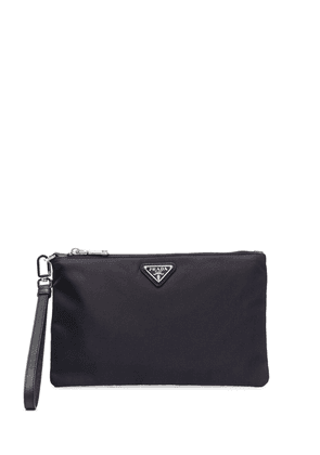 Prada logo-plaque clutch bag - Blue