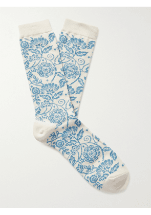 ANONYMOUS ISM - Intarsia Cotton-Blend Socks - Men - Neutrals