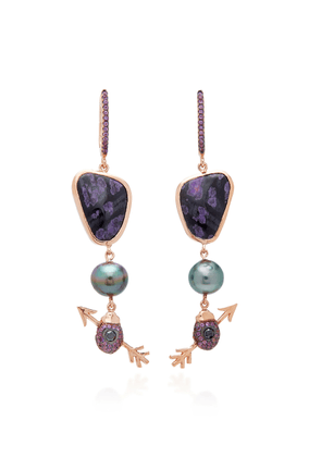 Daniela Villegas - Women's 18K Rose Gold Multi-Stone Earrings - Purple - Moda Operandi