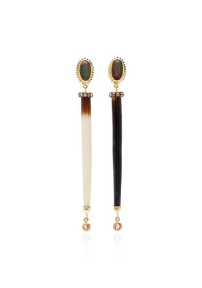 Daniela Villegas - Women's Porcupine 18K Rose Gold Enamel Earrings - Brown - Moda Operandi