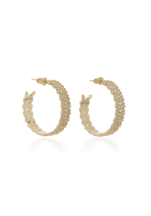 FALLON - Women's Laurel Pavé Crystal Gold-Plated Hoop Earrings - Gold - Moda Operandi