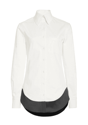Brandon Maxwell - Women's Contrast Hem Cotton-Blend Shirt - White - Moda Operandi