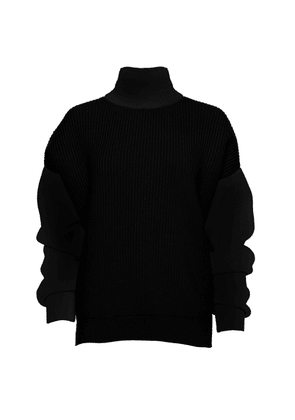 Brandon Maxwell - Women's Oversized Wool-Blend Turtleneck Sweater - Black/white - Moda Operandi