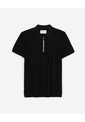 The Kooples - Black polo in cotton with classic zipped neck - MEN