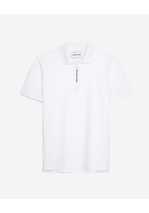 The Kooples - White polo in cotton with classic zipped neck - MEN
