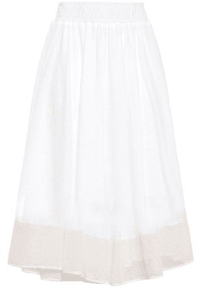 Clu Gathered Crinkled-cotton And Mesh Midi Skirt Woman White Size S