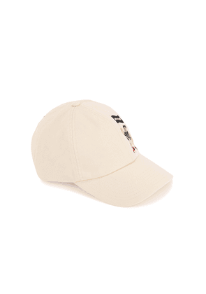 Palm Angels Pirate Bear Cream Embroidered Twill Cap