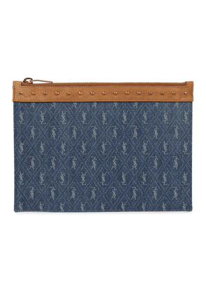 Suede-trimmed denim pouch