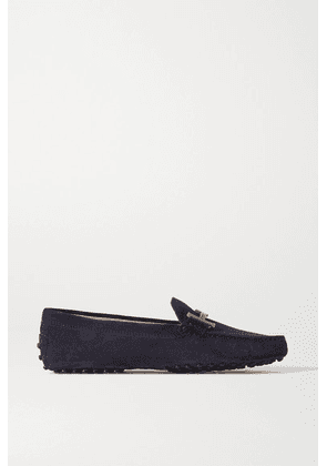 Tod's - Gommino Doppia Embellished Suede Loafers - Navy