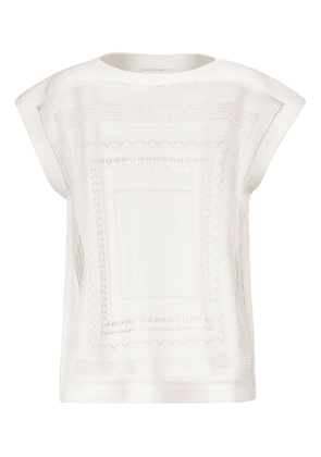 Crochet cashmere and cotton top