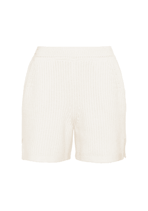 Ribbed-knit cashmere and cotton shorts