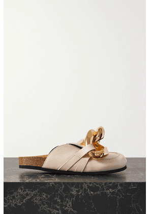 JW Anderson - Chain-embellished Leather Slippers - Off-white