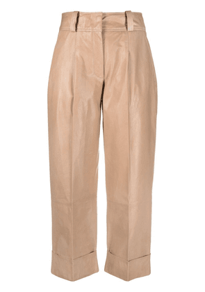 Arma cropped lambskin trousers - Neutrals