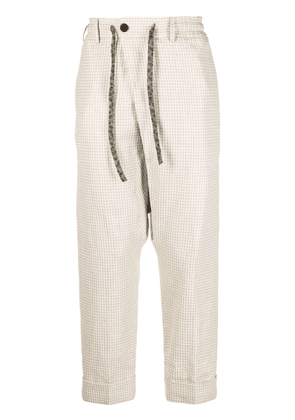 Gabriele Pasini houndstooth drop-crotch trousers - Neutrals