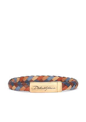 Dolce & Gabbana engraved logo braided bracelet - Brown