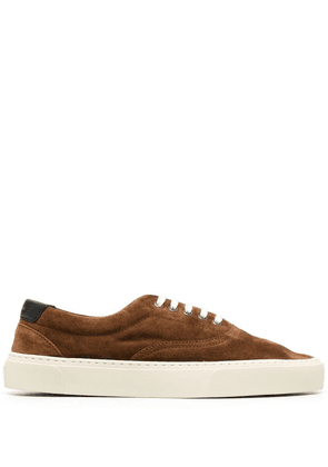Saint Laurent textured-finish lace-up sneakers - Brown