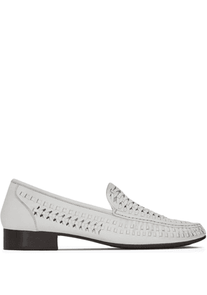 Saint Laurent interwoven-design round-toe loafers - White