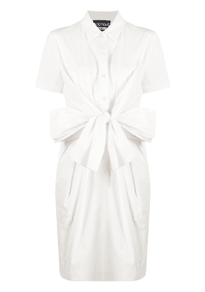 Boutique Moschino tie-front shirt dress - White