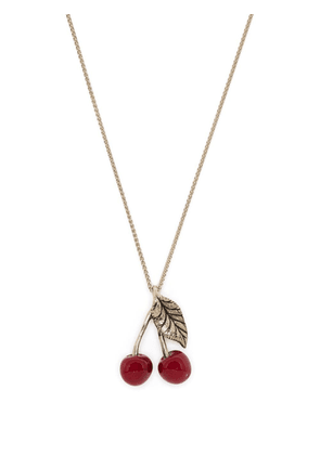 Saint Laurent long cherry pendant necklace - Gold