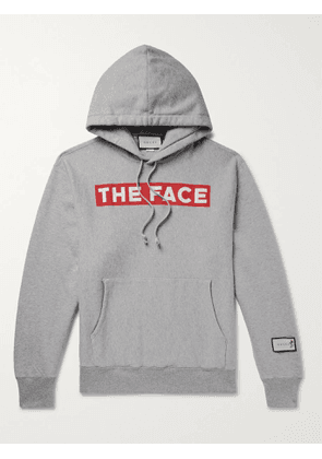 GUCCI - The Face Oversized Logo-Print Mélange Loopback Cotton-Jersey Hoodie - Men - Gray - S