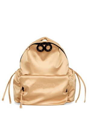 See By Chloé - Tilly Logo-embroidered Satin Backpack - Womens - Beige
